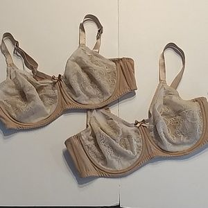Wacoal Lot of 2 Style 855816 Bras 40C Nude Color